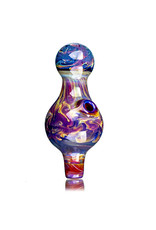 25mm Marbled Glass Bubble Carb Cap by Messy Glass (K) Double Amber Purple