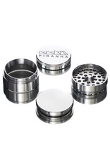 """4 Piece 2.5"""" SILVER Anodized Aluminum Grinder by PIRANHA"""