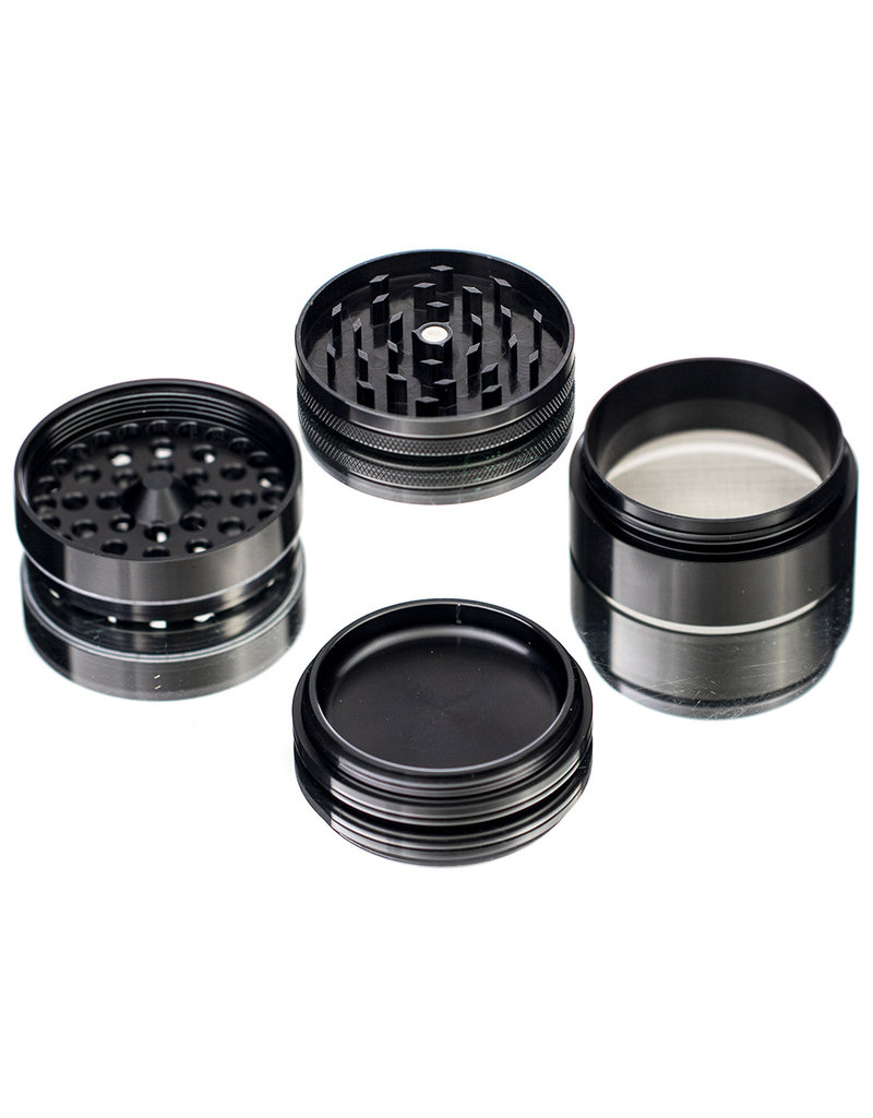 "4 Piece 2.5"" BLACK Anodized Aluminum Grinder by PIRANHA"
