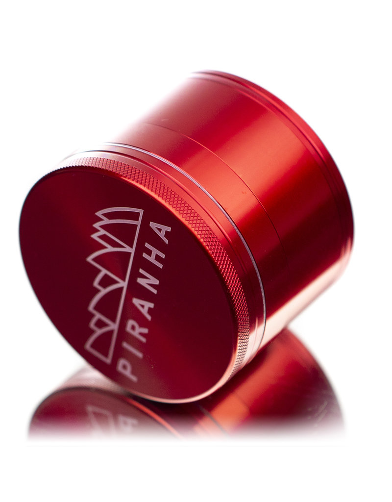 """4 Piece 3.0"""" RED Anodized Aluminum Grinder by PIRANHA"""