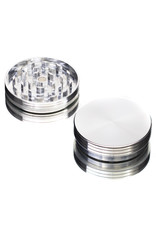 """2 Piece 2.5"""" SILVER Anodized Aluminum Grinder by PIRANHA"""