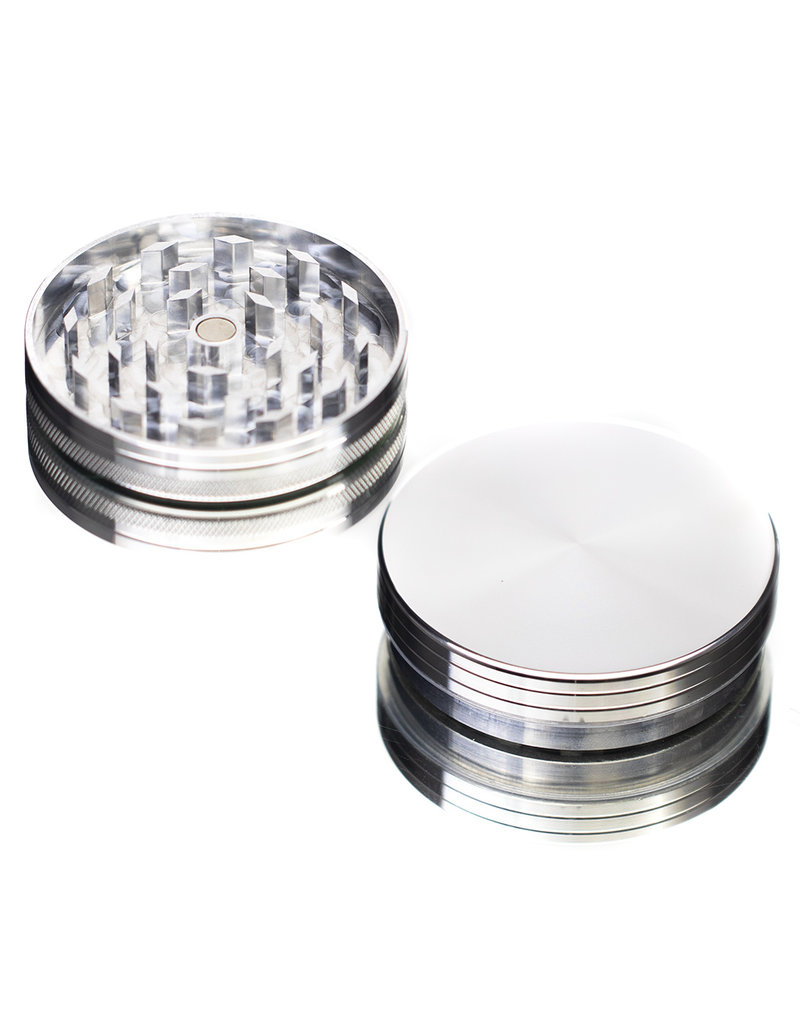 "2 Piece 2.5"" SILVER Anodized Aluminum Grinder by PIRANHA"