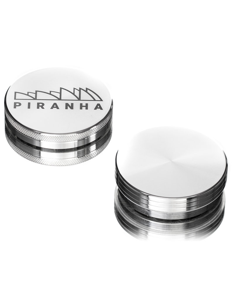 """2 Piece 3.0"""" SILVER Anodized Aluminum Grinder by PIRANHA"""