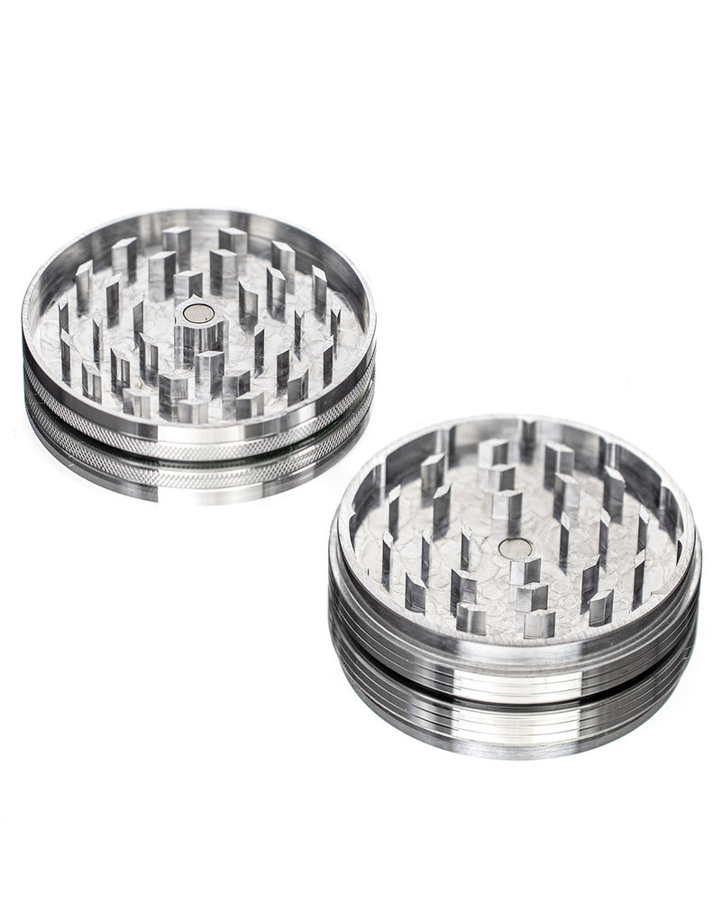 "2 Piece 3.5"" SILVER Anodized Aluminum Grinder by PIRANHA"