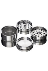 """4 Piece 3.5"""" SILVER Anodized Aluminum Grinder by PIRANHA ( other colors available )"""