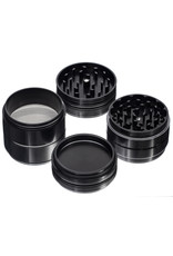 """4 Piece 3.5"""" BLACK Anodized Aluminum Grinder by PIRANHA ( other colors available )"""