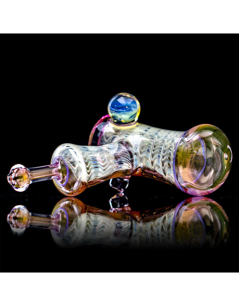 """5"""" Glass Dry Pipe Cut n Flip Fume Hammer with Pink Slyme Encalmo Accents by Sully Reynolds"""