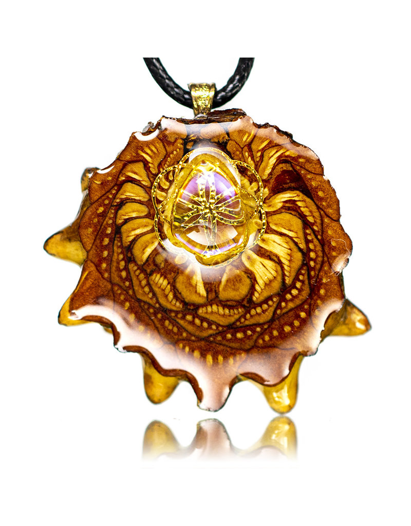 Gold SOL Aura Quartz Pinecone Pendant (J) by Earthly Amulets