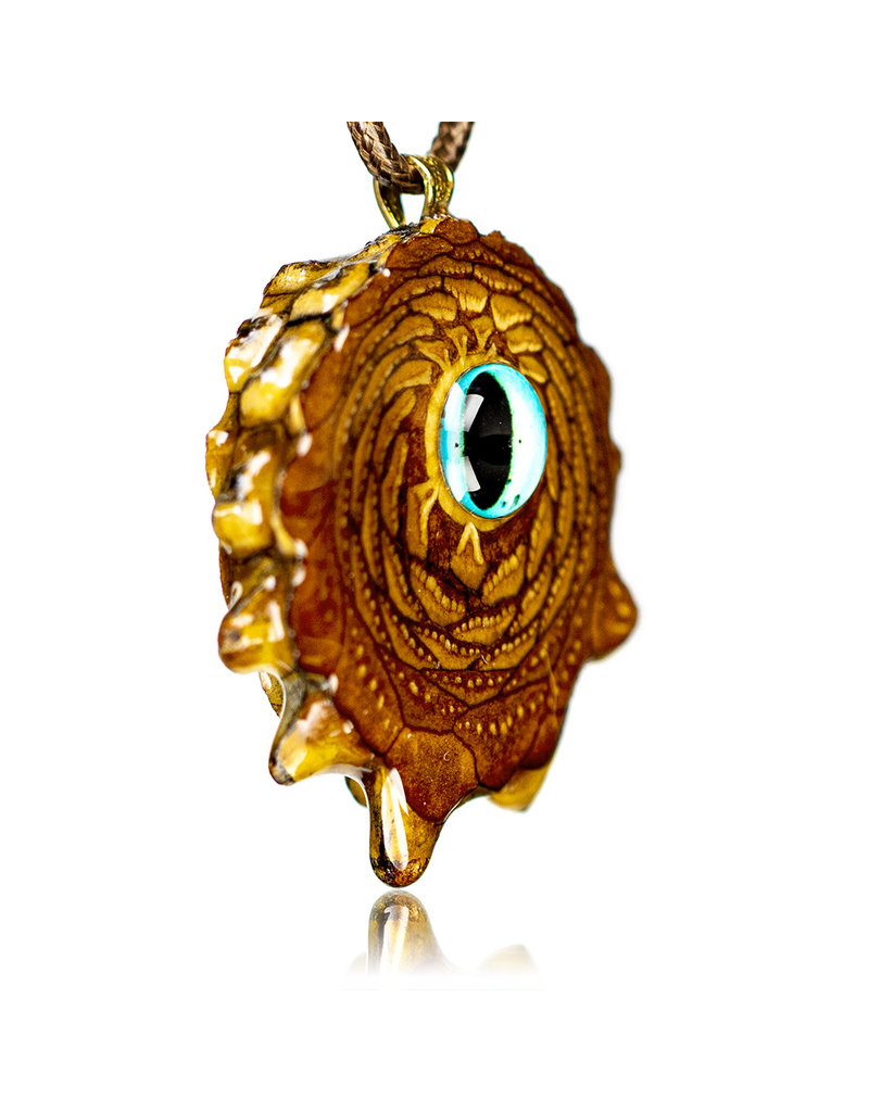 Blue Glass Eye Pinecone Pendant (B) by Earthly Amulets