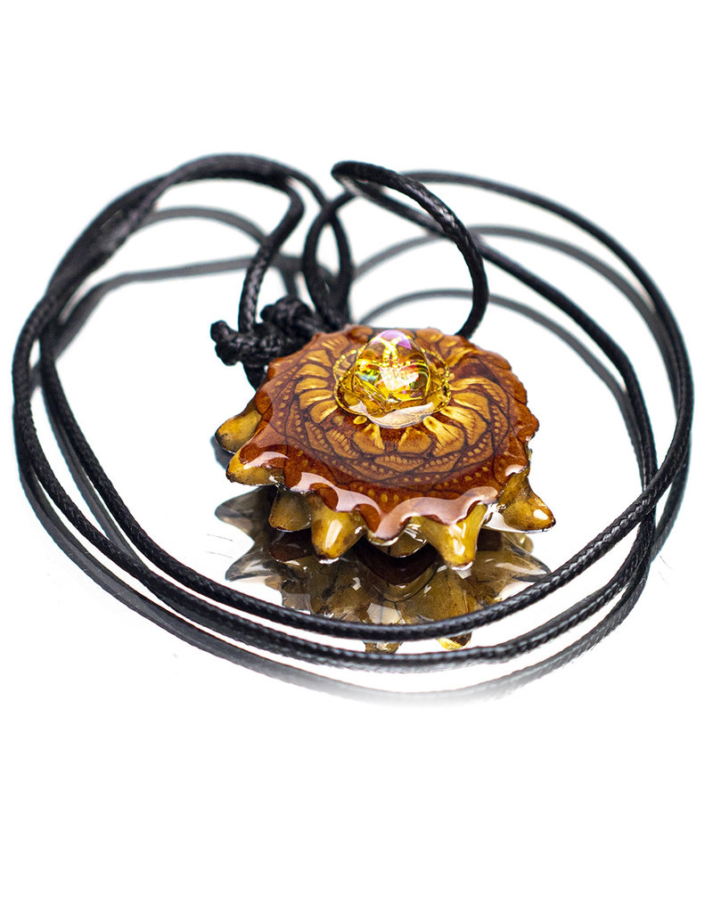 Gold SOL Aura Quartz Pinecone Pendant (J) by Earthly Amulets