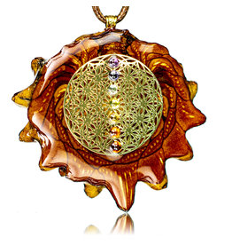 SOLD Chakra Set 18K Gold Flower of Life Pinecone Pendant (K) by Earthly Amulets