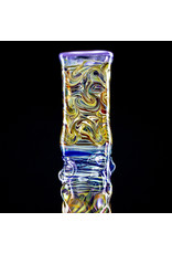 """17"""" 14mm Purple/Goldie Hybrid Water Bong with Matching Slide by Heady Old School Glass (A)"""