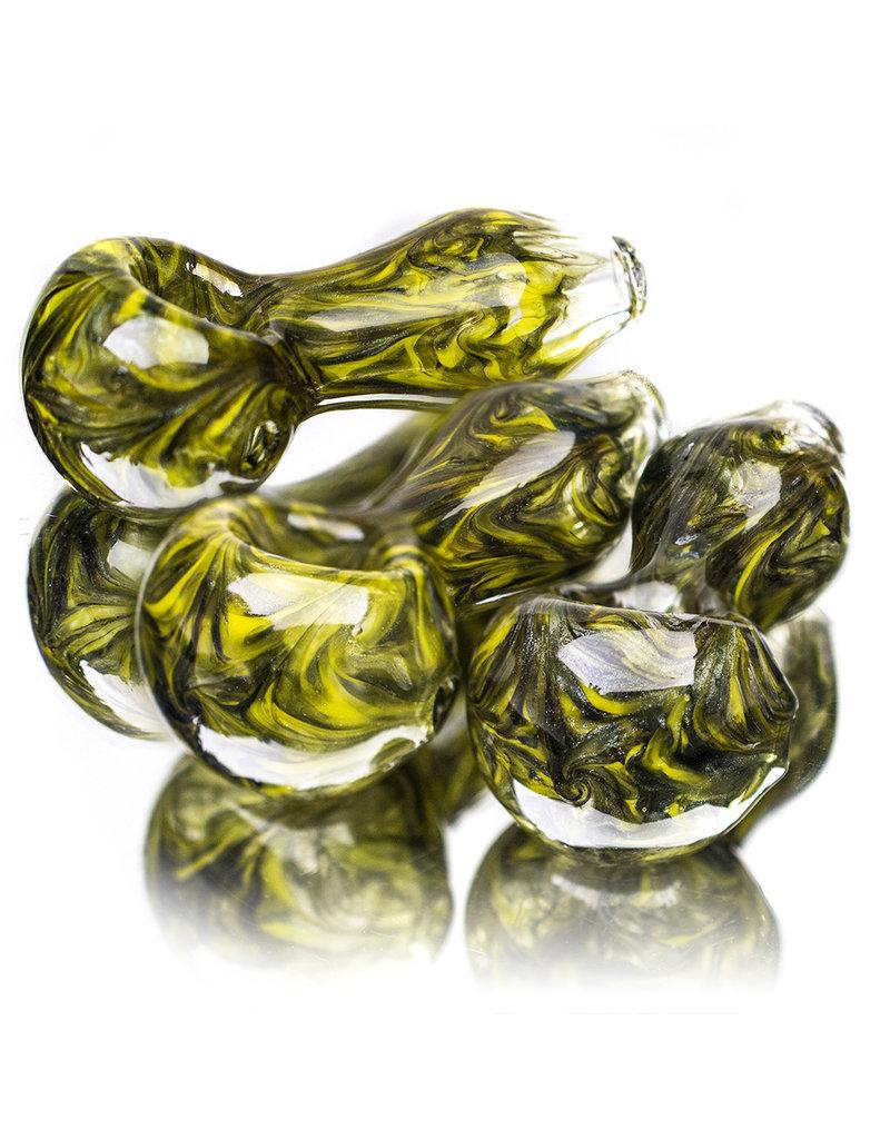 "4"" GREEN SWIRL Glass Dry pipe by California Glass"