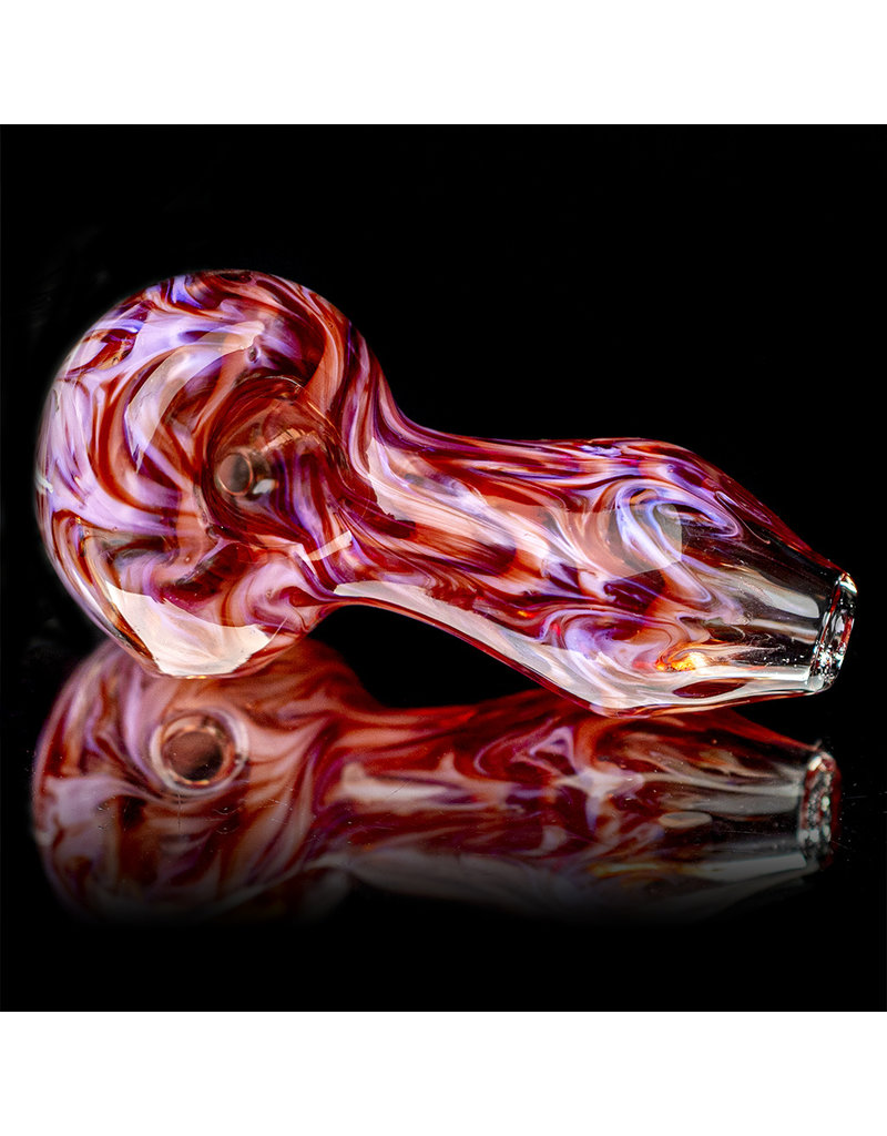 """4"""" RED SWIRL Glass Dry pipe by California Glass"""