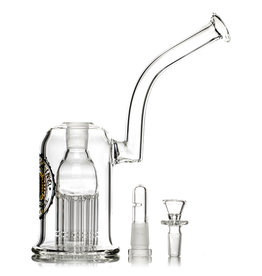 "Diesel 9"" 75x5mm Bubbler Rig with Palm Tree Perc, matching Ashcatcher and Slide by Diesel Glass"