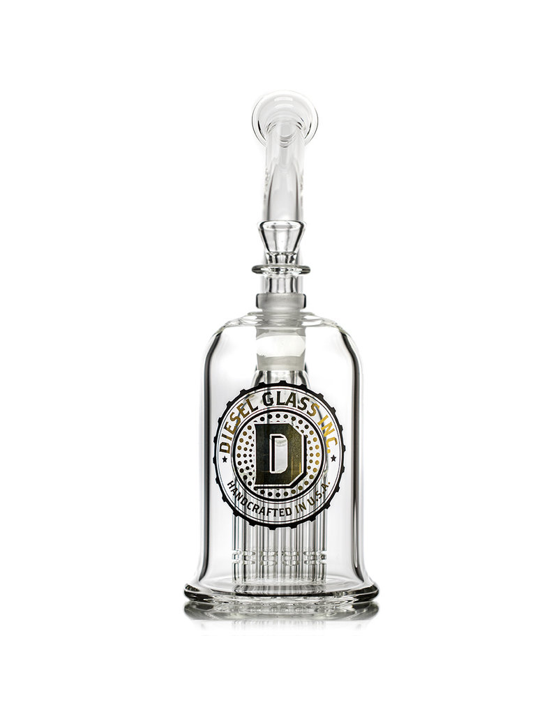 """Diesel 9"""" 75x5mm Bubbler Rig with Palm Tree Perc, matching Ashcatcher and Slide by Diesel Glass"""