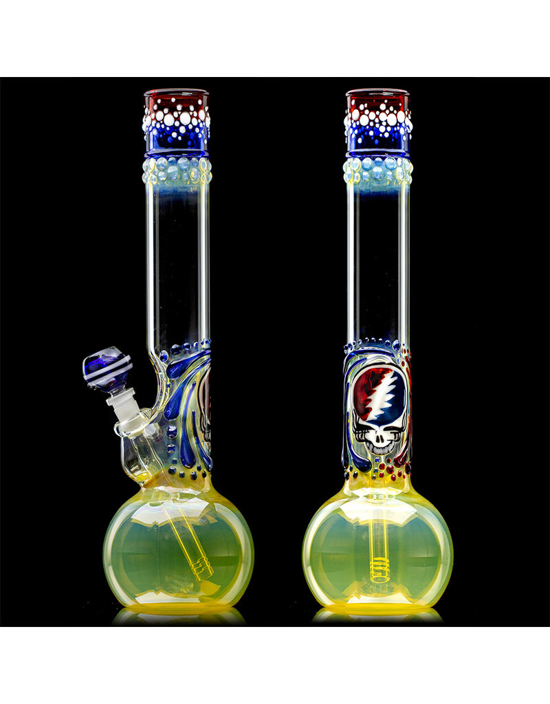 """16"""" 50x5 Glass Water Bong STEAL YOUR FACE Mini Phat Mamma Fumer w/ Removable Downstem Matching Slide by Trident Glass"""