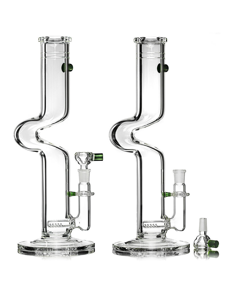 """Zombie Hand Studio 14"""" 50x5 14mm 90 GREEN ACCENTED Kink Bong with Inline Perc and Slide by Zombie Hand Studios"""