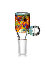 Black Tuna Glass 14mm Fully Worked Bong Bowl Slide Piece with Marble Handle and 5-Hole glass screen (H) by Black Tuna