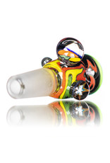 Black Tuna Glass 14mm Fully Worked Bong Bowl Slide Piece with Marble Handle and 5-Hole glass screen (i) by Black Tuna