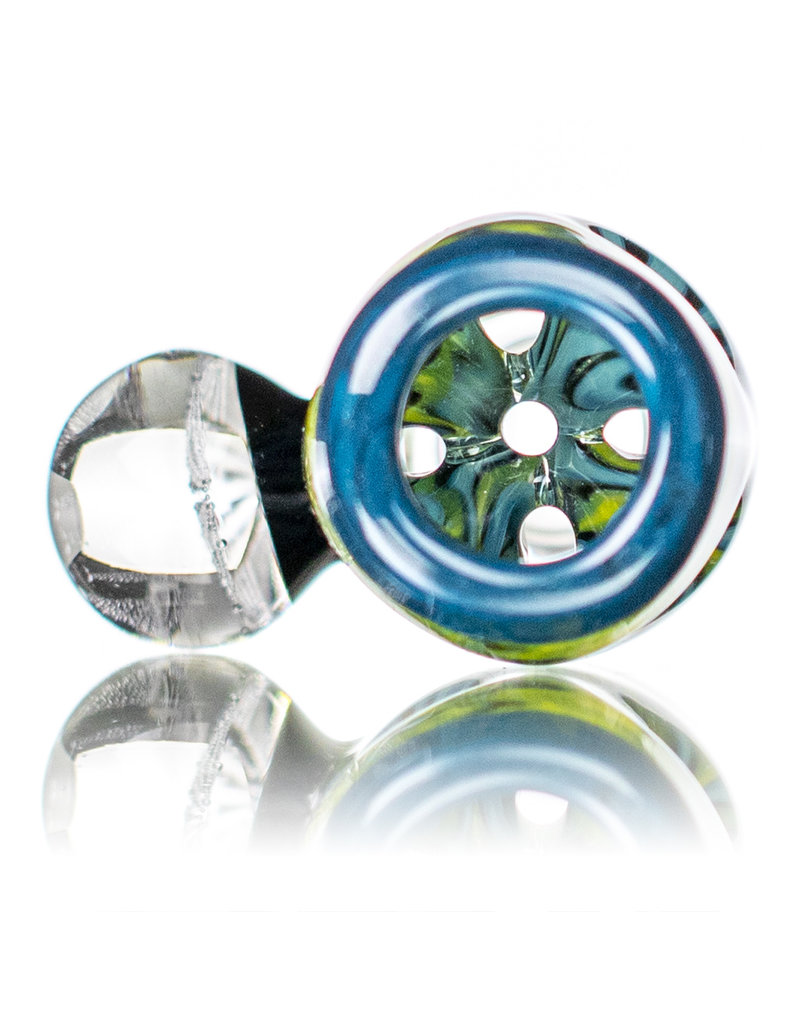Black Tuna Glass 14mm Fully Worked Bong Bowl Slide Piece with Marble Handle and 5-Hole glass screen (J) by Black Tuna