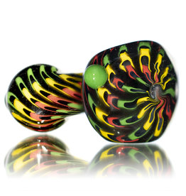 """Hot Mess Glass 4"""" Glass Pipe Dry Wrap and Rake Rainbow B by Hot Mess Glass"""