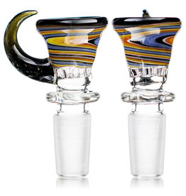 14mm Bong Bowl Martini Slide with 7 Hole Glass Screen and Horn Handle (D) by Slick Glass