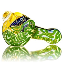 """4"""" Glass Dry Pipe Fully Worked Dichro Inside Out E by GFL Glass"""