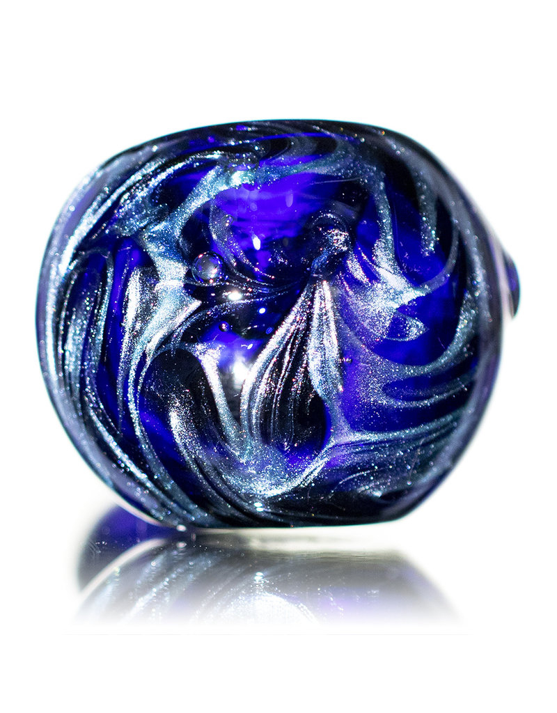 "4"" Glass Pipe Dry Unobtainium Swirl on COBALT by RG Glass"