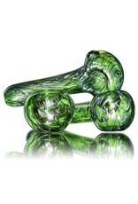 "4"" Glass Pipe Dry Unobtainium Swirl on GREEN by RG Glass"