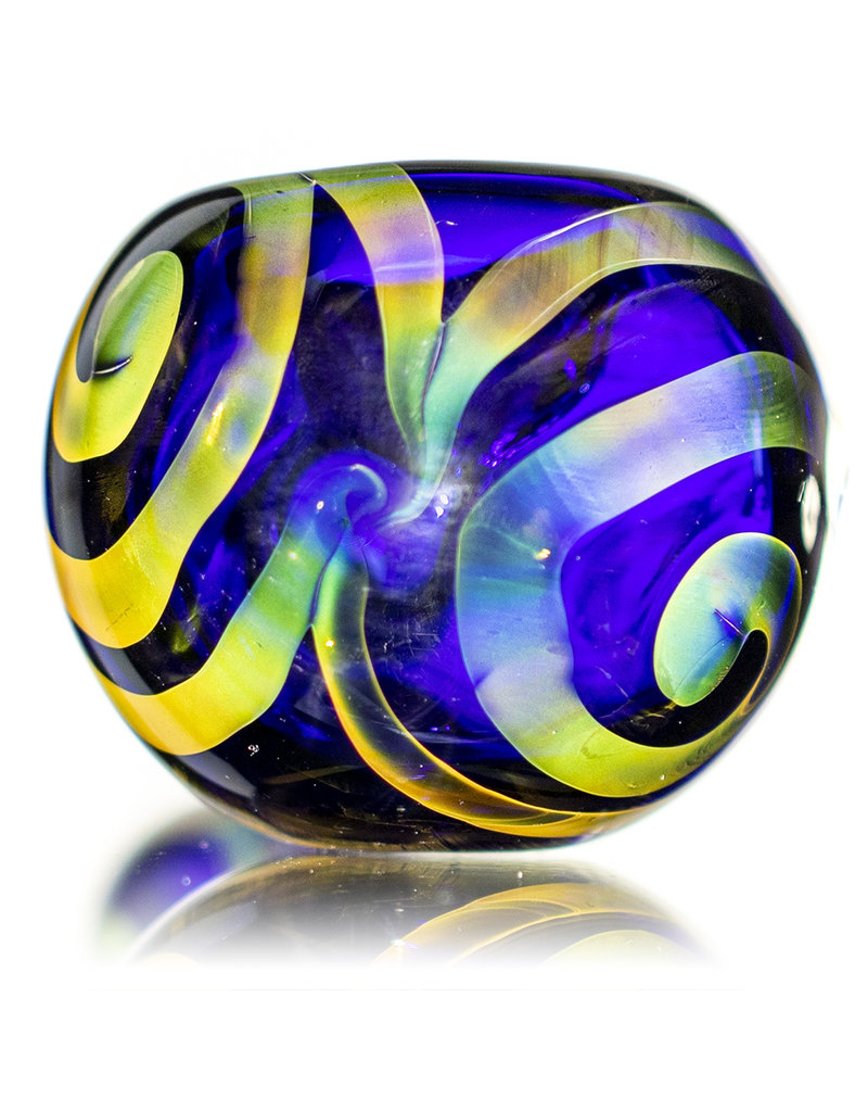 """Glass by Jacs 4"""" Glass Dry Pipe Celtic Fume COBALT Tux Pipe by Jacs"""