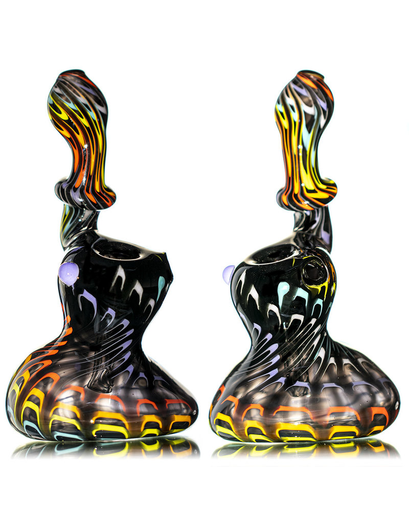 "Hot Mess Glass 6"" Dark Rainbow Wrap and Rake Upright Push Bubbler by Hot Mess Glass"