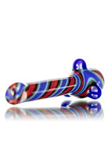 """Gurk 4"""" Fully Worked Dichro Accented Lined Glass Chillum D by GURK Glass"""