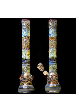 """17"""" 14mm Fully Worked Water Bong with Matching Slide by Heady Old School Glass (H)"""