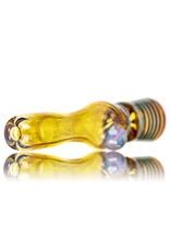 """Key Glass Co 4"""" Gold Fume Glass Chillum with Green Wrap Accented Bowl by KGC"""