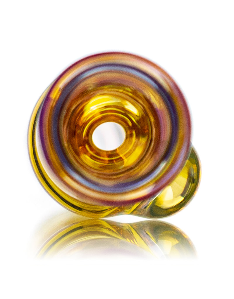 """Key Glass Co 4"""" Gold Fume Glass Chillum with Fume Wrap Accented Bowl by KGC"""