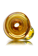 "Key Glass Co 4"" Gold Fume Glass Chillum with Yellow Wrap Accented Bowl by KGC"