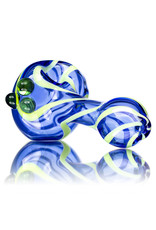 """5"""" Glass Dry Pipe Lime Cobalt Candy Cane by Rowland Glass"""