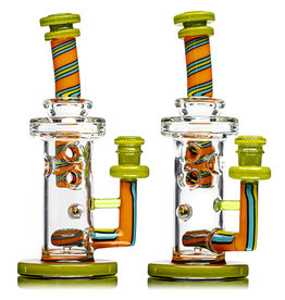 14mm Color Faberge Tower by Dynamic Glass (i) Chartreuse, Orange Crayon and Azul
