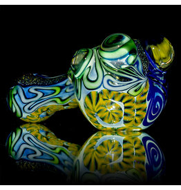 """4"""" Glass Dry Pipe Fully Worked Dichro Inside Out H by GFL Glass"""