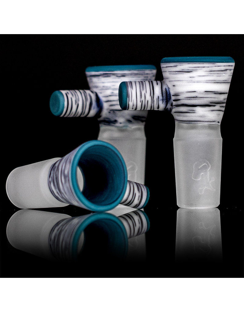 Witch DR 18mm Frosted Glass Bong Bowl Slide Engelmann Betula Birch AQUA accents SQ Witch DR
