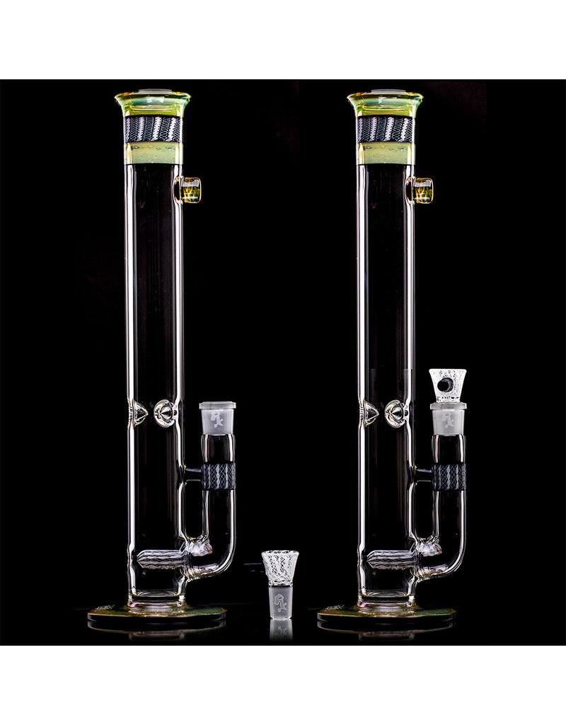 """16"""" 18mm 44x4 Fume & Zanfirico Topper Bong with Matching Slide by Witch DR Studio"""