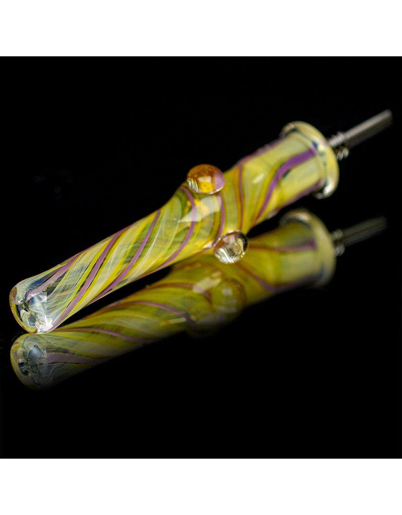 """5"""" Glass Dab Straw with Titanium Insert UV V2 (B) by Kitchen Glass"""
