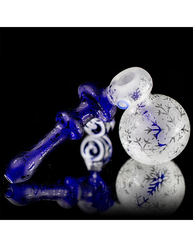 "Inner Vision Glass 6"" Cobalt Winter Wonders Sidecar Bubbler by Witch DR x Inner Vision Glass"