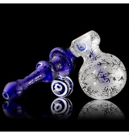 """Inner Vision Glass SOLD 6"""" Cobalt Winter Wonders Sidecar Bubbler by Witch DR x Inner Vision Glass"""