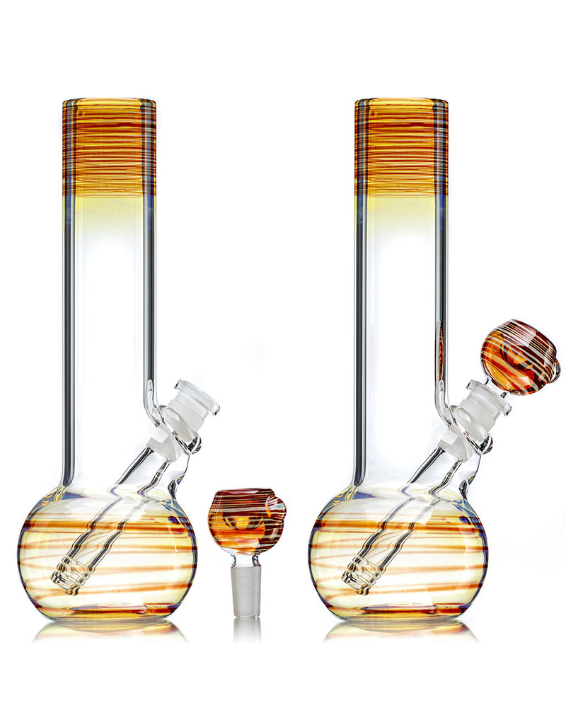 """9"""" Fume Accented RED Level 2 Kamper Water Bong with Slide by Trident Glass"""