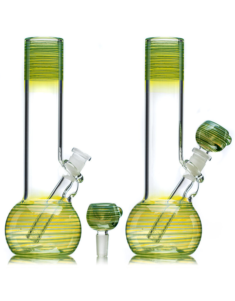 """9"""" Fume Accented GREEN Level 2 Kamper Water Bong with Slide by Trident Glass"""