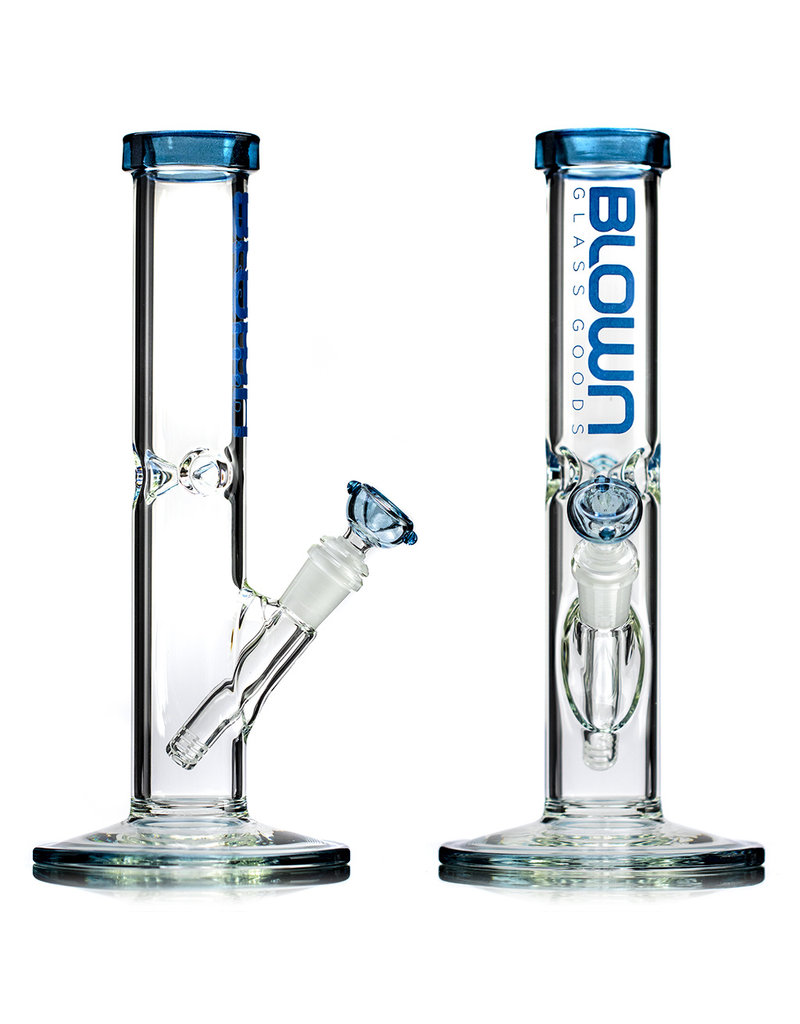 """12"""" 14mm 50x5 Straight Bong Rainbow Series Blue Stardust with SKY BLUE Logo Accent, downstem and slide by BLOWN"""
