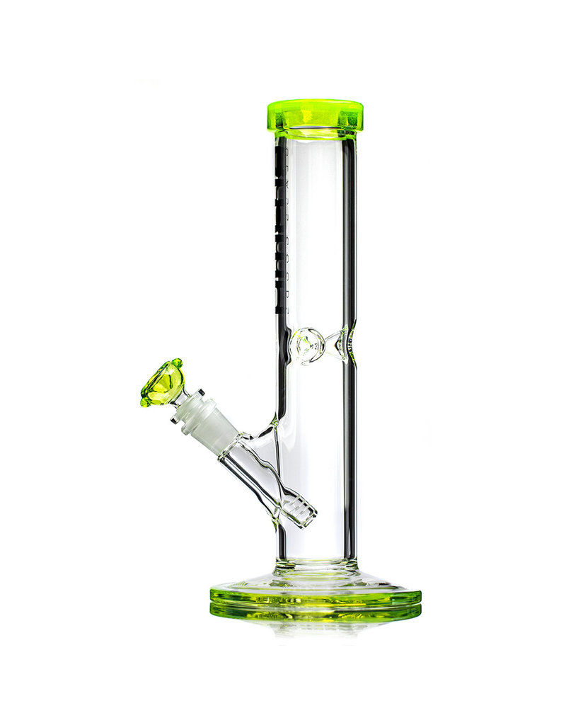 """12"""" 14mm 50x5 Straight Bong Rainbow Series GREEN SLYME with STEEL GREY Logo Accent, downstem and slide by BLOWN"""