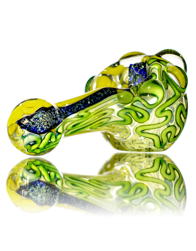 "4"" Glass Dry Pipe Fully Worked Dichro Inside Out J by GFL Glass"